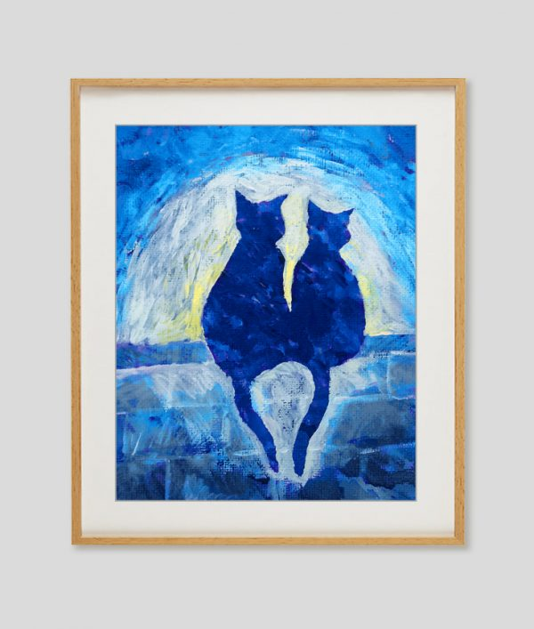 blue cats painting print