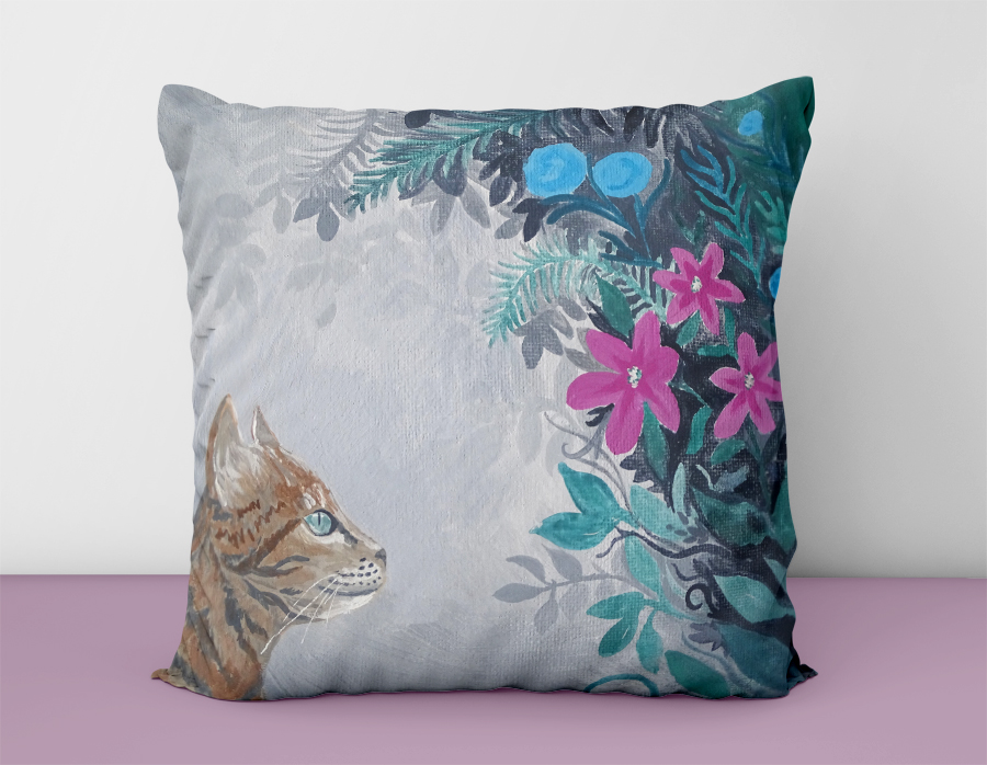 Cat Flowers Cushion Cover