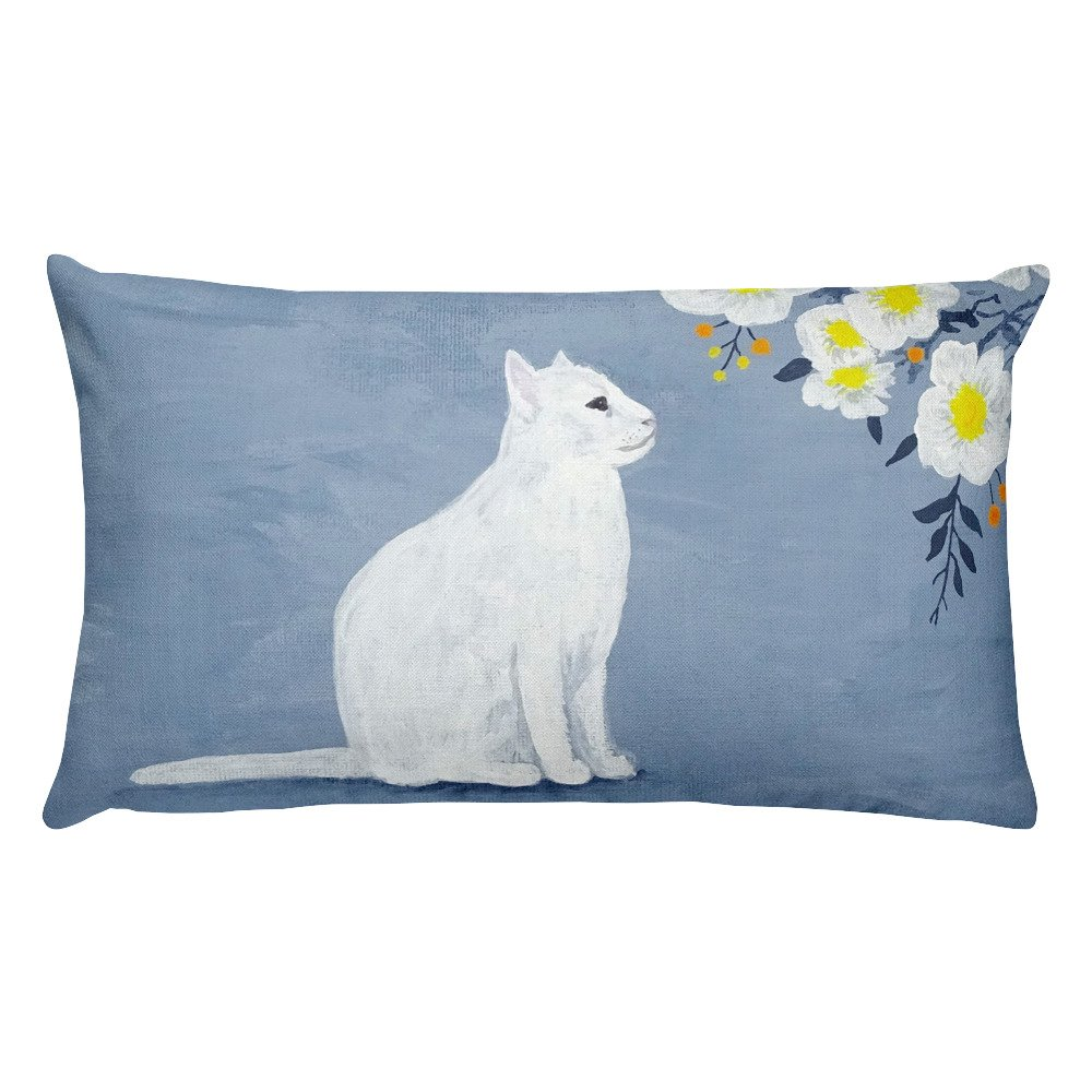 Daydreaming Cat Grey & Yellow Floral Throw Pillow