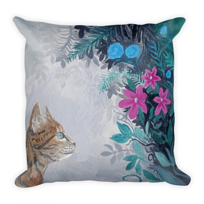 cat floral cushion cover