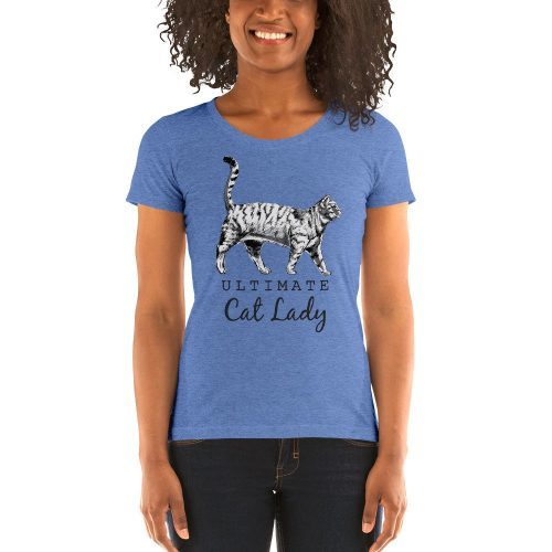 cat lady blue graphic illustration t-shirt