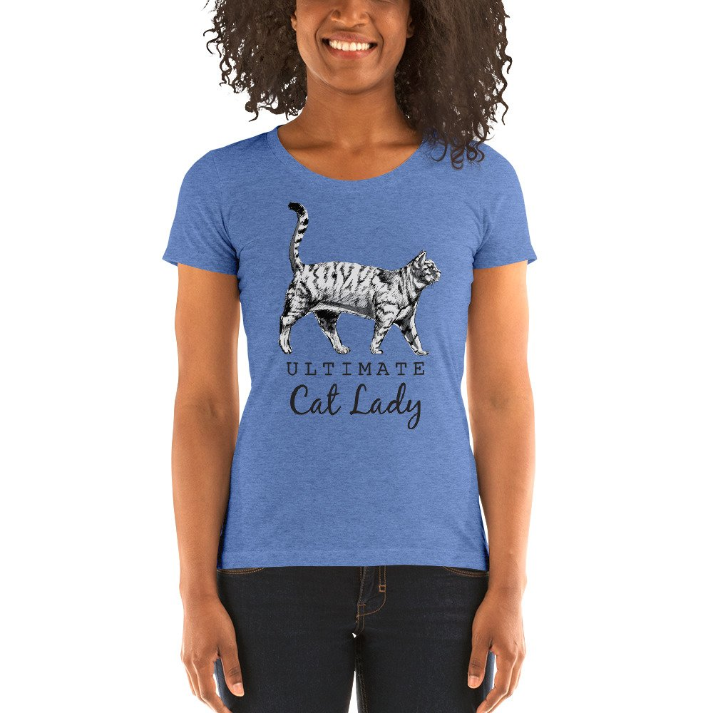 Ultimate Cat Lady Illustration Blue T-Shirt