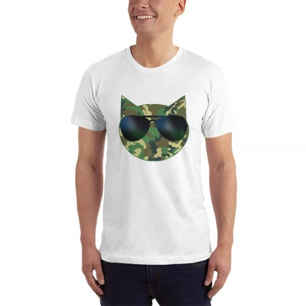 camo cat dad t-shirt