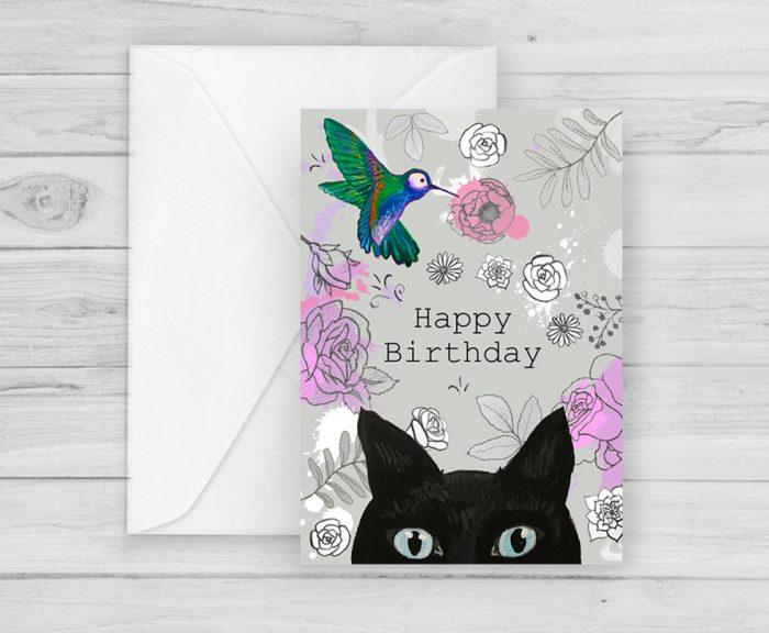 Black Cat and Bird Happy Birthday Card