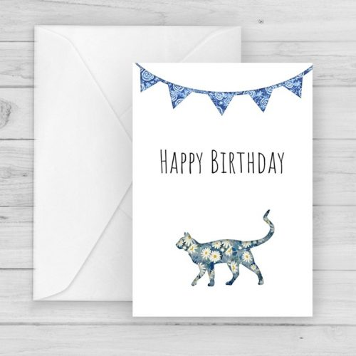 blue daisy flowers cat birthday card