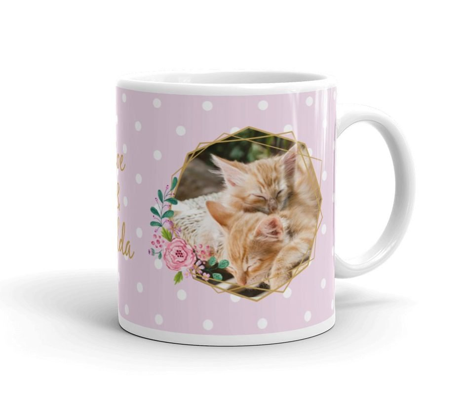 Personalized Pink Floral Polka Dot Pet Photo Mug