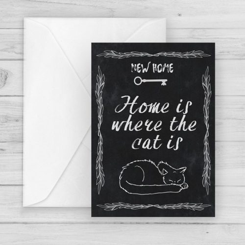 new home cat owner greetings card