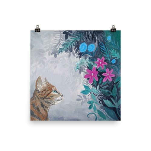 Exploration Floral Cat Art Print