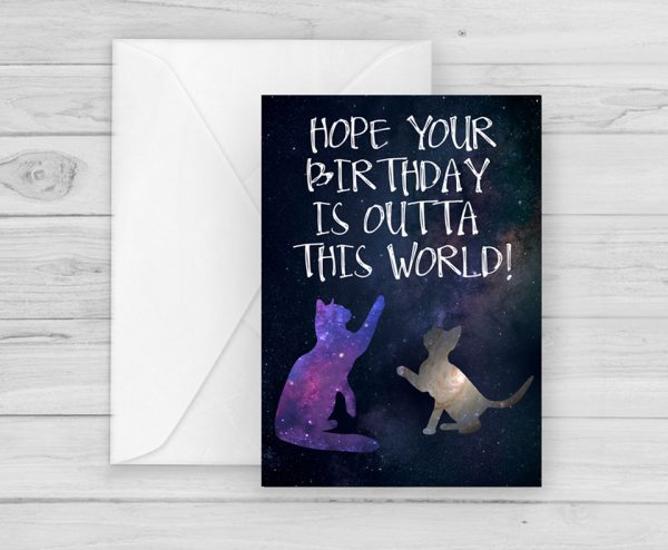 space cats birthday card