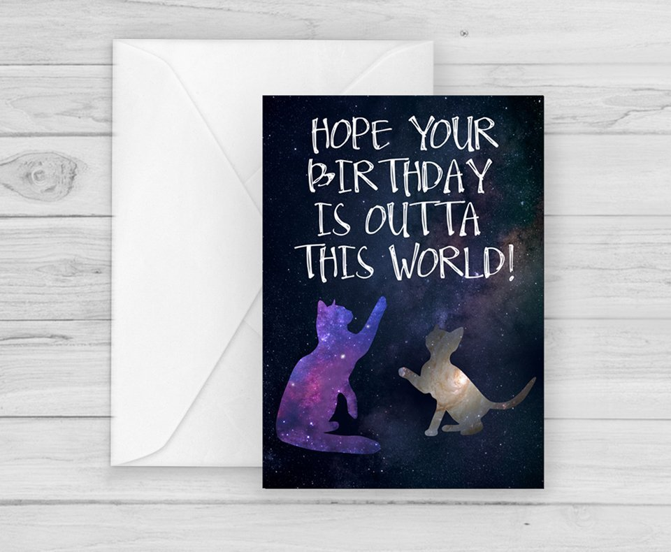 Funny Space Cats Birthday Card