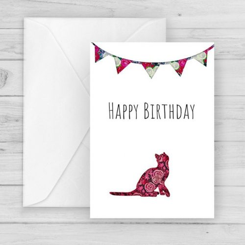 Rose Cat cute Birthday Card