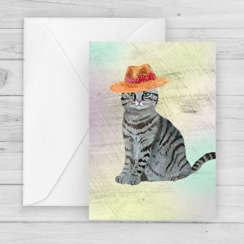 cat hat illustrated art card