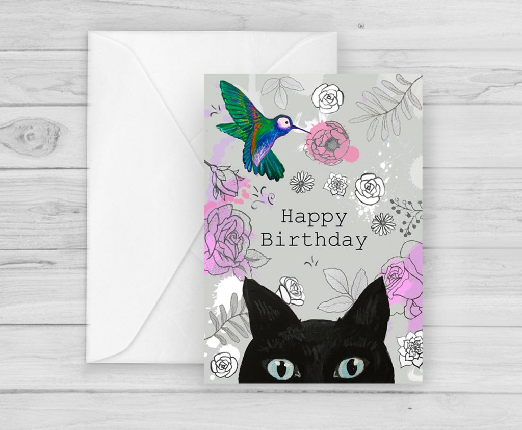 black cat with bird birthday card