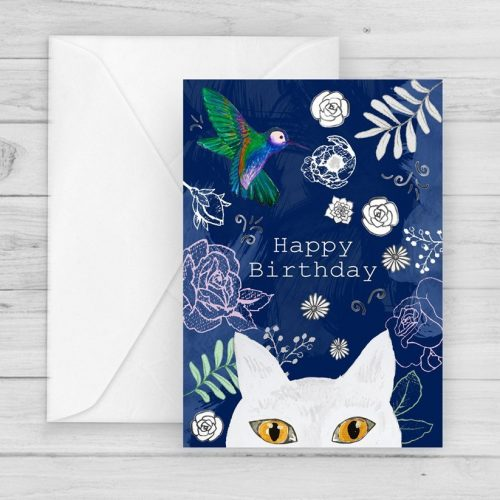 white shorthair cat birthday card