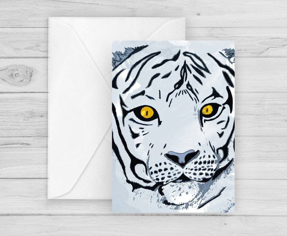 White Tiger Greetings Card