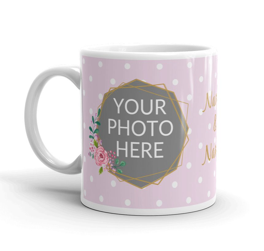 Personalized Photo Mug With Pink Floral Design