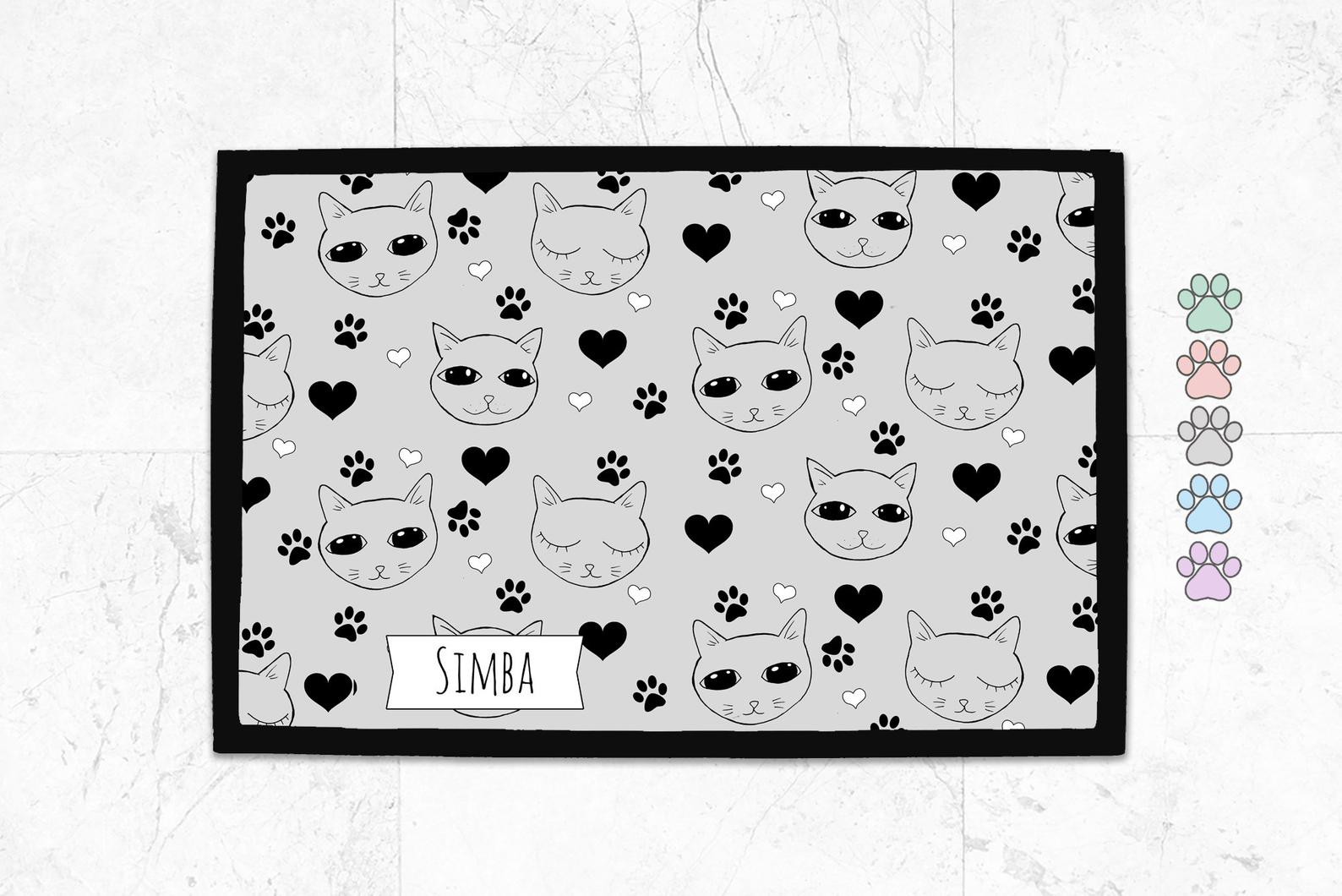 Cat Food Placemat – Cute Cats Pattern