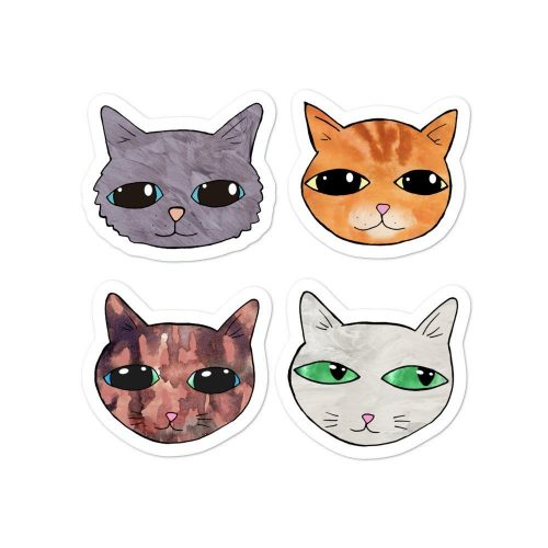 Cute Cats ilustrations Vinyl Stickers Pack