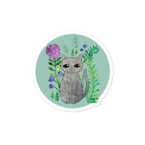 Cat Amongst the Flowers Round Vinyl Sticker