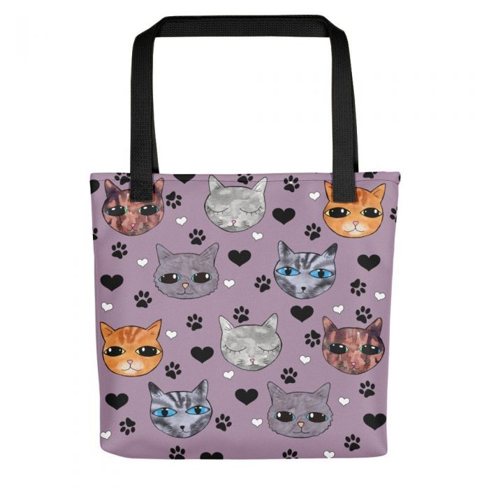 purple cats print tote