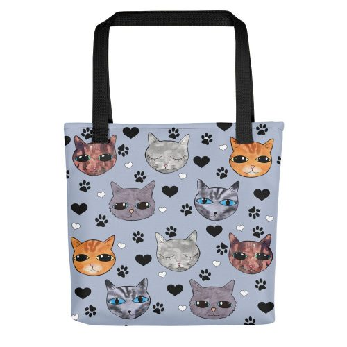 blue cats print tote bag