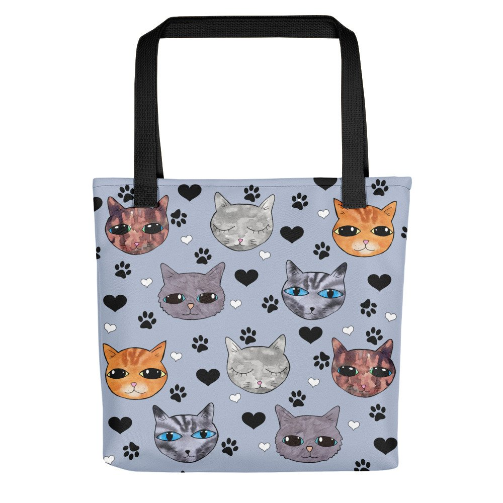 blue cats print tote