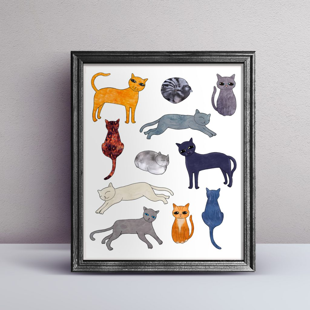 cat breeds artwork wall art