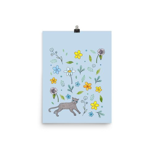 garden cat flowers blue art