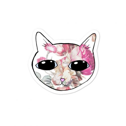 floral cat sticker