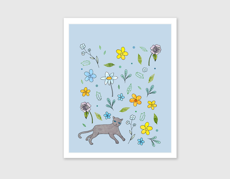 'Cat in the Garden' Blue Art Print