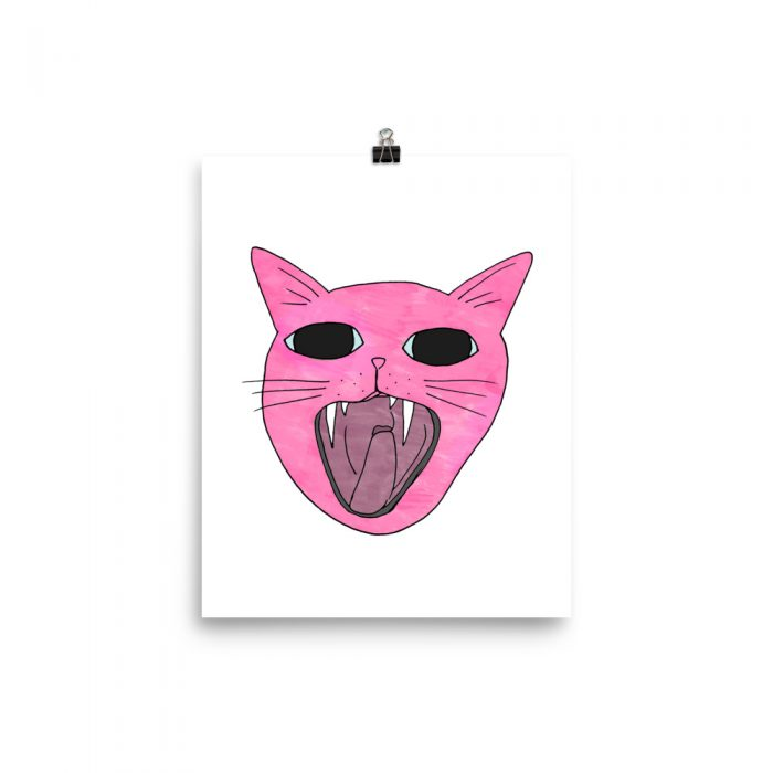 pink quirky cat art print