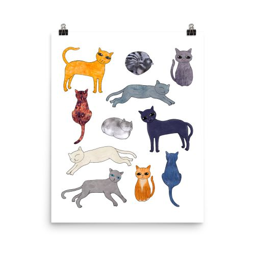 Cat Breeds Art Print 16 x 20