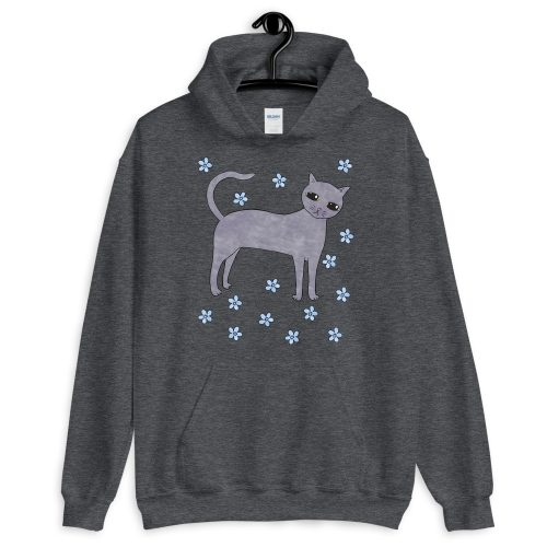 Women's Unique Cat-Themed Grey Pullover Hoodie