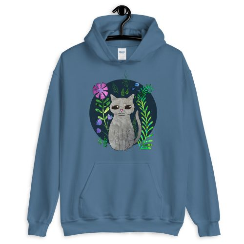 Cat Illustration Hoodie for Women