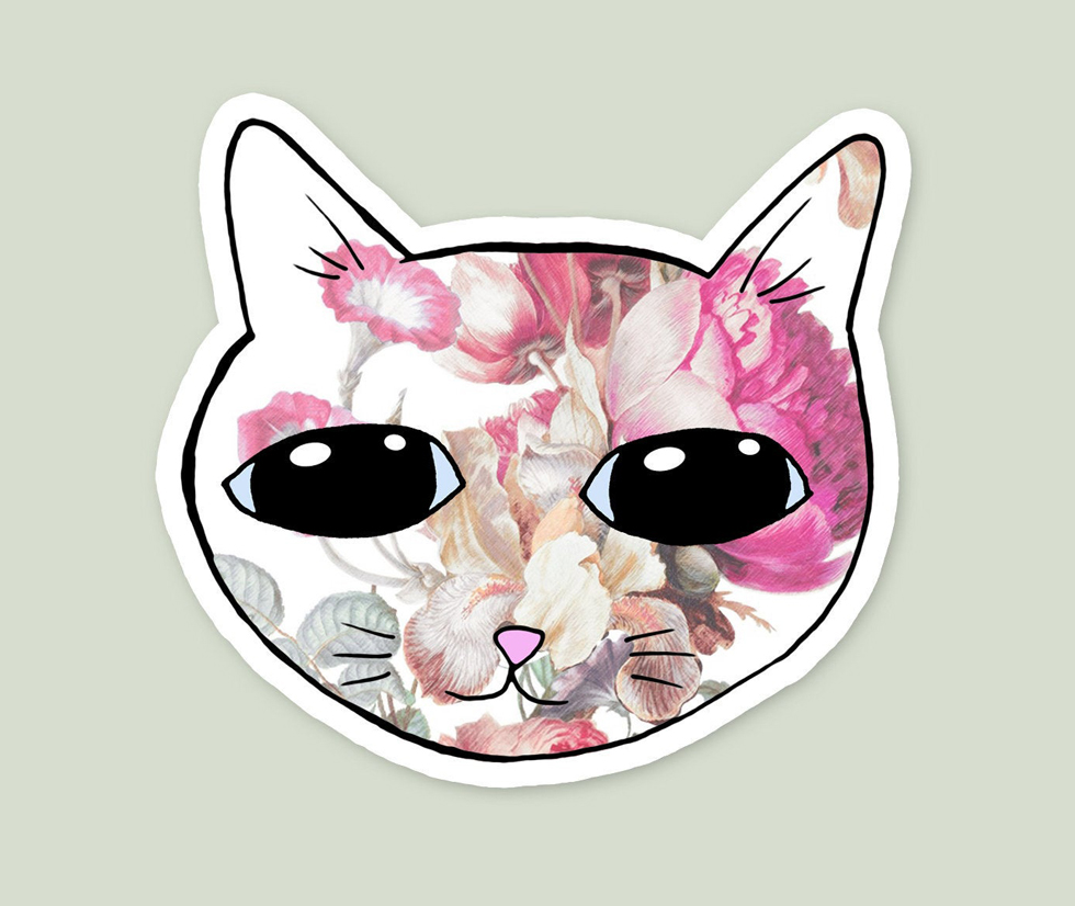 Vintage Floral Style Cute Cat Sticker