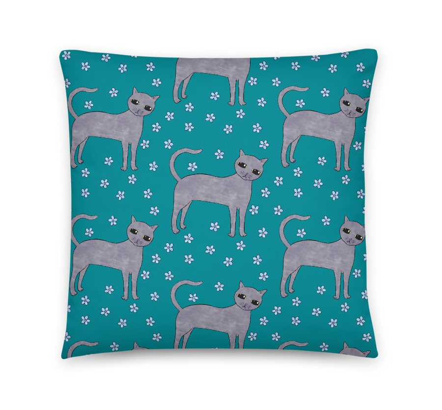 Teal Cats Cushion Cover