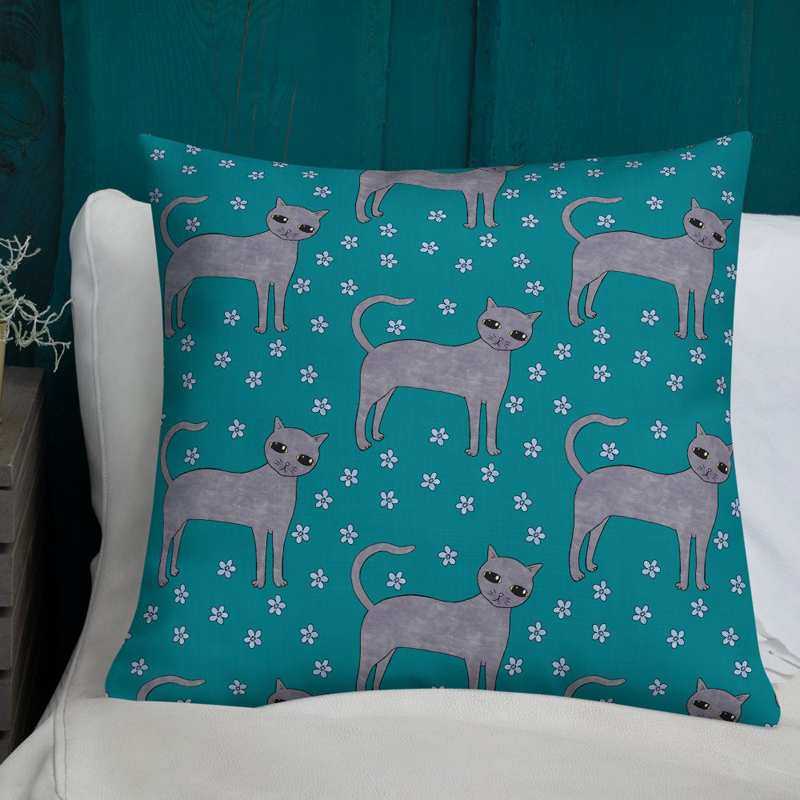 Teal Cats Floral Pattern Cushion Cover