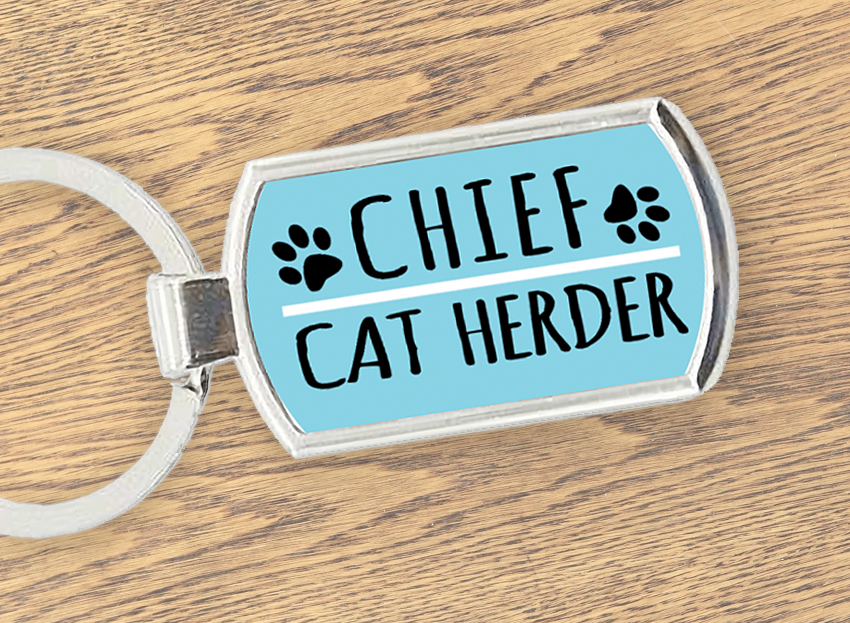 Funny Cat Herder Keychain