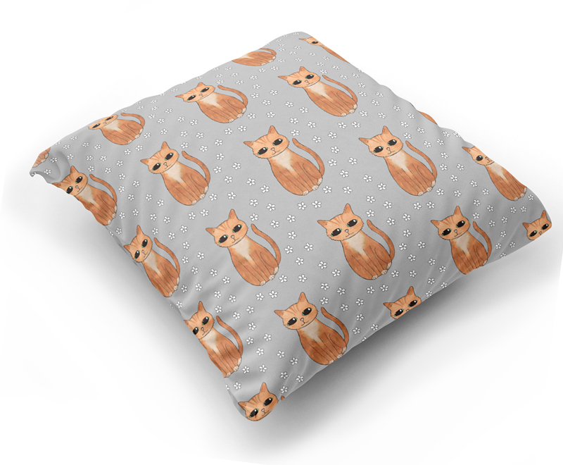 Ginger Cat Pattern Cushion Cover