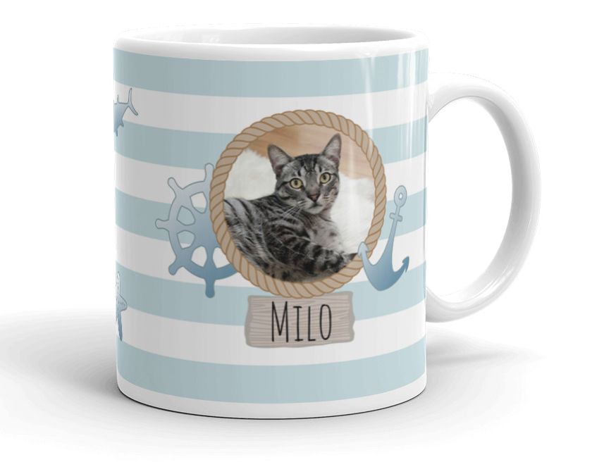 Personalized Nautical Pet Photo Mug Cat Dad Gift
