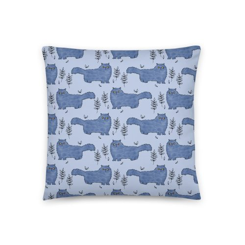 Blue Fluffy Cat Print Cushion