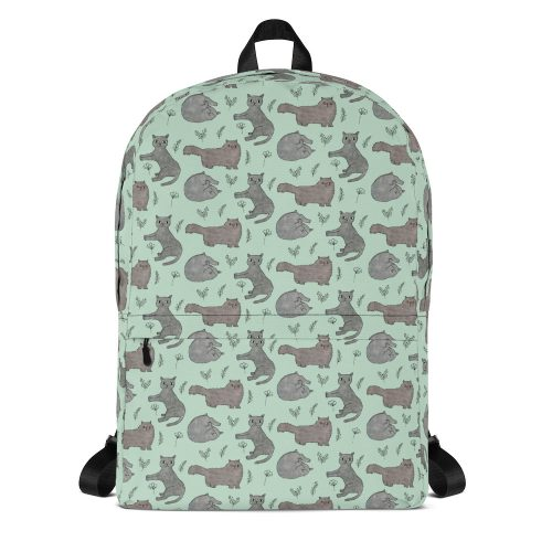 Leafy Nature Cats Print Premium Backpack