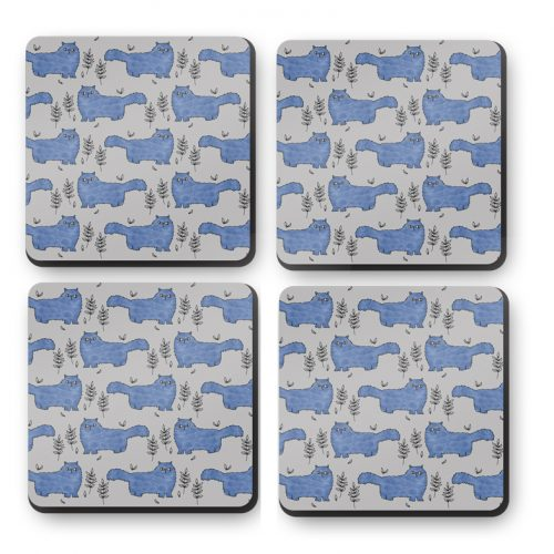 Fluffy Cat Square Coaster Set