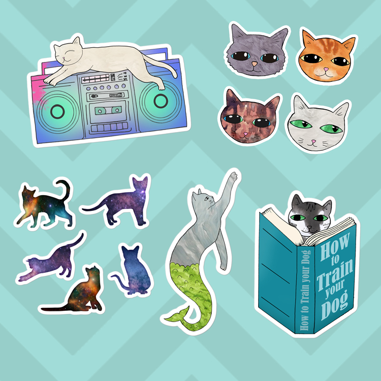 Cute Cat Vinyl Stickers