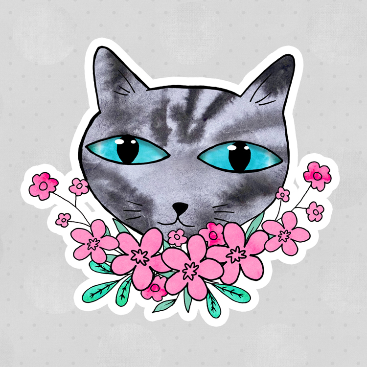 Tabby Cat Pink Flowers Stickers