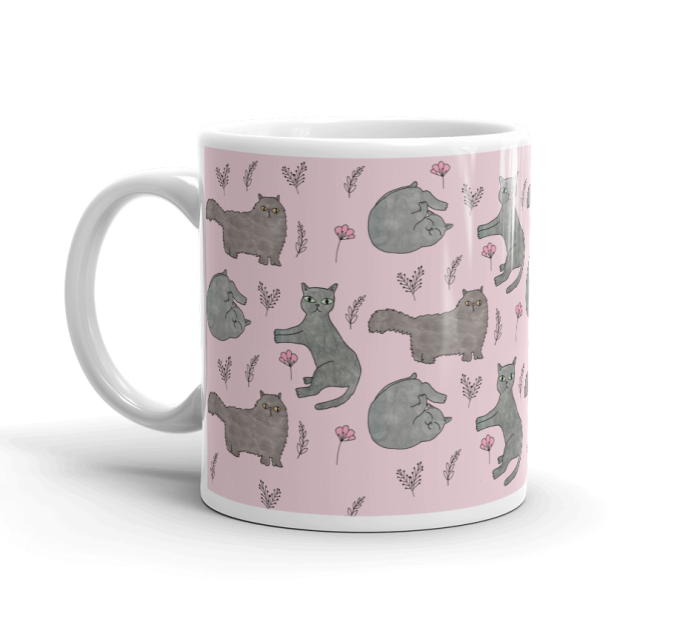 Cute Grey Cats Pink Coffee Mug