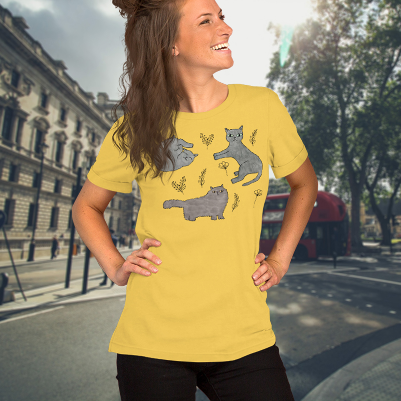 Cute Cats Women's Yellow Tee