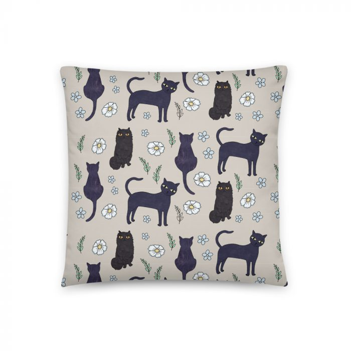 "Black Cats 18""x18"" Throw Cushion"